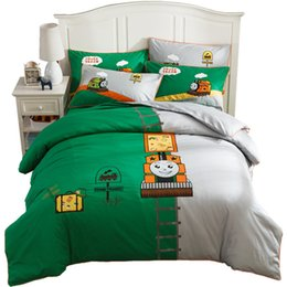 cartoon beds Australia - Children 100%Cotton Cute Kids Bedding Sets Queen 1.5M Single Bed Covers Set Cartoon Boy ThomasTrain Design Green Color DuvetCover BedSheets