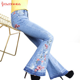 women s flare jeans Canada - Embroidery Stretching Flare Jeans Women Stretching Bell-bottoms Jeans For Girls Trousers For Women Jeans Large Size A#k97 Y19072301