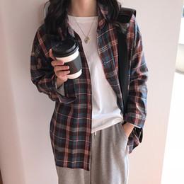 Korean autumn clothes online shopping - 2019 The New Autumn Women Plaid Shirts Long Sleeve Retro Korean Fashion Sexy Ladies Clothing Casual Elegant Button Up Blouses
