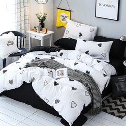 $enCountryForm.capitalKeyWord Australia - Hot sales Girls Kid Teen Brief Bedding Set Adult Female Inen Soft Black White Heart Duvet Cover Pillowcase Bed Sheet