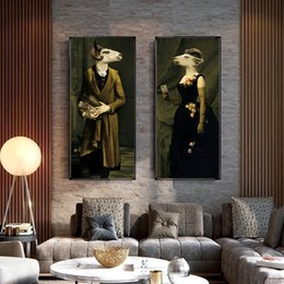 canvas prints paintings NZ - WANGART Retro Nostalgia Gentleman Lady oil paintings Wall Art Animal posters Prints Canvas Painting For Living Room Home Decor