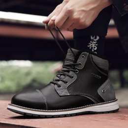 Boot shoes timBer online shopping - Coturno High Top Mens Boots Leather Winter Snow Boots Men Waterproof With Fur Keep Warm Round Toe Timber Booties Land Shoes