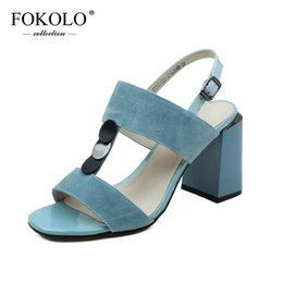 genuine leather fashion kids sandals UK - FOKOLO sandals women 2020 Kid Suede Ankle Strap T-tied Rubber outsole Sexy High Heels New Summer Fashion Lady Shoes Handmade L15