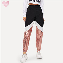 nylon blocks NZ - Multicolor Color Block Pants Contrast Elegant 100% Nylon 2019 Spring Women Modern Lady Metallic Tapered Carrot Pants Drop Shipping