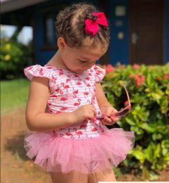 Swimwear Infant Australia - Ins flamingo kids swimwear pink Girls Swimsuit baby Bikini Swim Suits+bows headband Newborn Swimsuits Kids Bathing Suits Infant Bikini A5036
