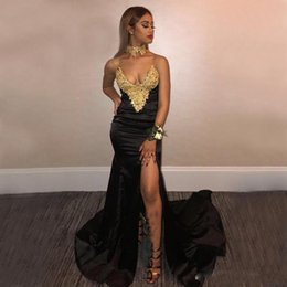 c01d955a3dae8 New Design 2K18 Sexy Black Prom Dresses with Gold Lace Mermaid Front Split  Plus Size African Arabic Long Party Evening Wear Gowns