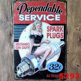Vente en gros 9 Style Garage Sexy Lady Tin Signes Rétro Mur Décor Retro Art Artisanat Pub Club Décoration 20 * 30 CM En Métal Signe