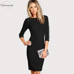 Pearl worked lace online shopping - Bodycon Dresses Pearl Beading Form Fitting Black Dress Women Clothes Elegant Autumn Knee Length Ladies Midi Dress