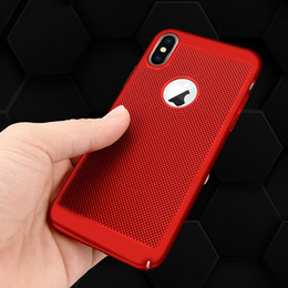 Mesh Iphone Case Black Australia - Phone Case For iPhone X Ultra-thin Cooling Breathing Hollow Hard PC Mesh Back cover For iPhone 10 protection Shell