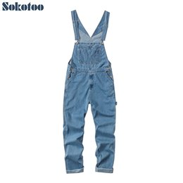 $enCountryForm.capitalKeyWord Australia - Sokotoo Men's plus size big pocket loose bib overalls Casual working coveralls Suspenders jumpsuits Light dark blue jeans