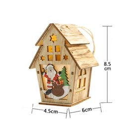 small wood house UK - 2020 Christmas New Wood Decoration Cabin Illuminated Lights Hanging Christmas Tree Ornaments DIY Small House