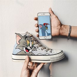 $enCountryForm.capitalKeyWord Australia - 2019 summer new, hand-painted, cartoon cat, mouse, canvas shoes, board shoes, fashion, free shipping