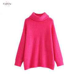 Wholesale female turtleneck tops resale online - Women Turtleneck Knitted Sweater Oversized Warm Thick Long Sleeve Pullovers Female Casual Chic Tops Loose Ha086