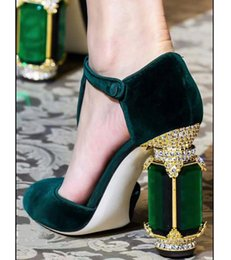 $enCountryForm.capitalKeyWord NZ - Retro Palace Style Black Green Purple Burgundy Velvet Women's Pumps Bling Block High Heels T-strap Pumps Mary Jane Shoes Party