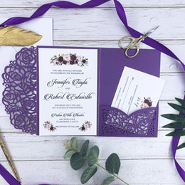 PurPle wedding invitations design online shopping - Gorgeous Purple Laser Wedding Invitation Card With Customized Tag With Belly Band Insert And RSVP Card Free Design