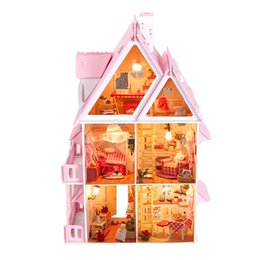 children wood toys NZ - DIY Doll House Wooden Three Layer Big Size Doll Houses Miniature Dollhouse Furniture Kit Toys for Children Christmas Gift