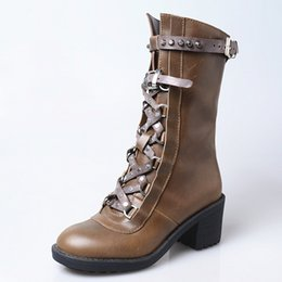 cec9ead8881 retro style autumn winter women high boots rivet buckle strap chunky high  heel militares boots platform rubber sole knight boots handmade