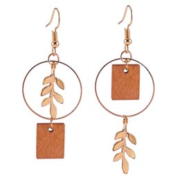 $enCountryForm.capitalKeyWord NZ - Korean version of the new ladies fashion fresh natural personality square wood asymmetrical earrings temperament street shoot creative leave