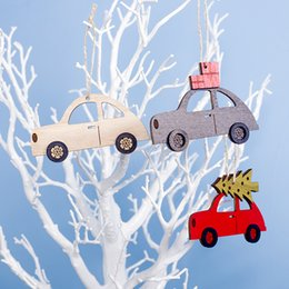 car window toys 2019 - Wooden Painted Little Car Christmas Pendant Creative Christmas Tree Drop Ornaments Window Display Xmas Party Decor Kids