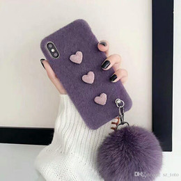 $enCountryForm.capitalKeyWord NZ - Mytoto Cute simple heart shape fluffy plush hairball strap case for iphone XS MAX Case XR X 6 6S 7 8 plus 7plus cover Pearl bracelet