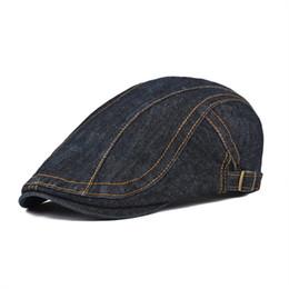 $enCountryForm.capitalKeyWord NZ - wholesale Cotton Flat Caps Beret Men Newsboy Women Washed Denim Gatsby Cap Vintage Ivy Hat Adjustable Retro Golf Boina 388