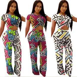 Stylish Leggings Australia - Women designer two piece set jogger suit stylish tracksuit sportswear geometric Print Short Sleeve t-shirt bodycon leggings pants plus size