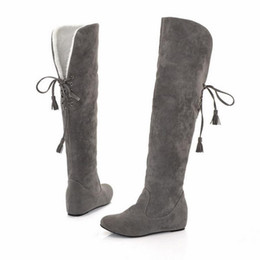 over knee snow boots Australia - Sexy Suede Leather Fur Snow Boots Women Winter Warm Over The Knee Thigh High Boots Height Increasing Woman Shoes ADF-8574 sr8
