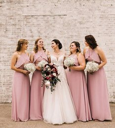 lace up front wedding dresses 2019 - 2019 African sexy elegant Mermaid Bridesmaid Dress halter Neck chiffon Cheap Maid of Honor Gowns floor length Pink Weddi