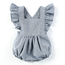 $enCountryForm.capitalKeyWord NZ - Newborn Infant Baby Girls One Piece Short Sleeve Ripped Demin Jeans Ruffle Romper Sunsuit Outfits Jumpsuit for baby boys girls