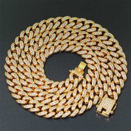 Indian Golden Chain Australia - 1.2cm Iced Out Bling Rhinestone Golden Finish Miami Cuban Link Chain Necklace Men's Hip hop Necklace Jewelry 20,24,30Inch