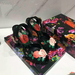 $enCountryForm.capitalKeyWord Australia - 2019 Spring Collection Printed Rose High Heels,zt18 Floral Sandals with Pink Sculptural Heel, Black Charmeuse Women Pumps