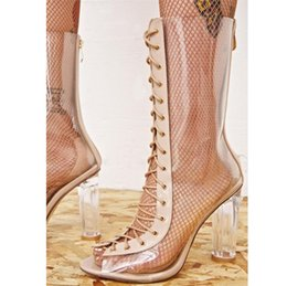 Lace materiaL boots online shopping - Womens sexy clear transparent calf high boots PU material back zip open toe front lace up high heels sheepskin insole
