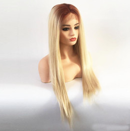 blonde wig brown roots synthetic Australia - Hot Selling Middle Part Long Straight Wig Brown Roots Ombre Blonde Synthetic Lace Front Wigs Handtied Wig for African American Fiber Wigs