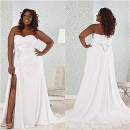 Discount simple white flowing wedding dress Country Plus Size Wedding Dresses Beach Flowing Chiffon Sweetheart Sleeveless Lace-up Back Corset Bridal Gowns with Sexy