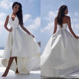 wedding dresses for muslim women NZ - White Satin High Low Beach Wedding Dresses Halter V-neck Sexy Backless Reception Dress For Women Cheap Summer Bridal Party Gowns
