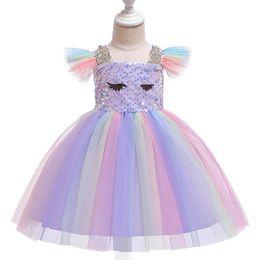 $enCountryForm.capitalKeyWord Australia - Tutu Baby girls dresses kids designer clothes girls dress Summer sequin rainbow dresses princess dress kids dress kids clothes A5980