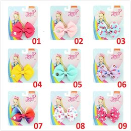 35 hair NZ - 3.5 inch Unicore Christmas Baby Girls Jojo siwa bows Print Grosgrain Ribbon Hairclip bowknot Hairpins Hair Accessory 35 Colors