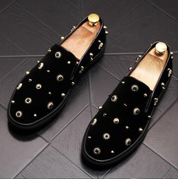 flat studs NZ - Luxury Fashion Brand Design Men Shoes Slip On Rivets Stud Suede Leather Men Loafers Flats Party Dress Stage Shoes W157