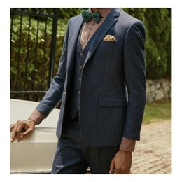 Gray Wool Suit Australia - New Wool Groom Tuxedos 2019 Notched Lapel Wedding Suits Custom Made Groomsmen Best Man Prom Suits (Jacket+Pants+Bow +Vest)