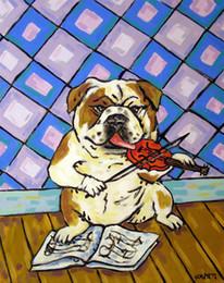 $enCountryForm.capitalKeyWord Australia - Animals Art Bull Dog Playing The Violin, Oil Painting Reproduction High Quality Giclee Print on Canvas Modern Home Art Decor