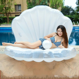 Pool wear online shopping - Big Size Inflatable Pearl Shell Floating Row Thickening PVC Material Swim Ring Summer Waterproof Wear Resistant Pool Floats Mat XY Y