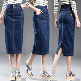 Ingrosso Gonna di jeans nuova donna Plus Size Casual Gonna di jeans a vita alta Matita Patchwork Stretch Slim Hip Jean Gonna lunga 8xl