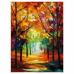 """$enCountryForm.capitalKeyWord NZ - 72""""x48"""" Red leaf tree hand drawn canvas oil painting autumn forest sofa background wall painting staircase porch decorative painting"""