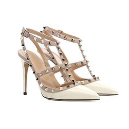 Discount lilac wedding shoes - Studs Rivets Women Sandal Wedding Shoes Lady T-shaped Buckle High Heel Summer Shoes 6 8 10cm Thin Heel Black Nude Fashio