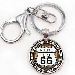 Silver Wholesale Chain Usa Australia - New Route US 66 Keychain Glass Dome Jewelry Silver Historic Route 66 USA pendant Women Men's Keyrings Round Key chains as Gift