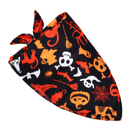 wholesale cotton kerchiefs NZ - Pet Dog Bandana Small Large Dog Bibs Scarf Washable Halloween Cartoon Cotton Puppy Kerchief Bow Tie Pet Grooming Accessories