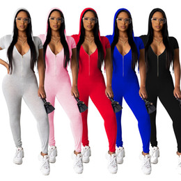 Wholesale jumpsuit women hoodie resale online – Women Hooded Summer Jumpsuits Solid Color Rompers S XL Hoodie Short Sleeve Overalls Stretch Bodycon Clothing Capris Leggings