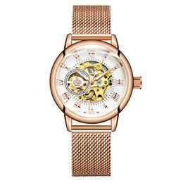Wrist Watch Glass Chain Australia - Orkina 2019 Hot Sale Women's Fashion Rose Gold Automatic Self-Winding Stainless Steel Mesh Chain Strap Wrist Watch ORK-W-0003