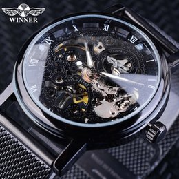 mens mesh band watches Australia - Winner Stainless Steel Mesh Band Transparent Classic Thin Case Hollow Skeleton Mens Male Mechanical Wrist Watch Top Brand Luxury