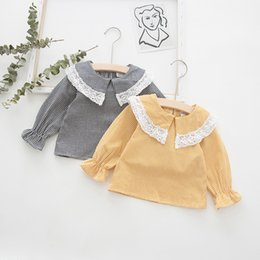 lace shirt for girls kids NZ - 2019 Autumn New Korean Lace Collar Girls Shirt Children's Long Sleeve Plaid Shirt for Girls Kids Plaid Top Tees Blouse